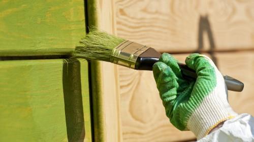 Schilderen van muur met groene verf